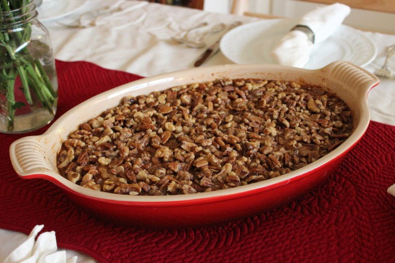 There's Sweet Potato Casserole under those caramelized pecans